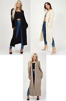 Ladies Warm Longline Knitted Open Cardigan Side Slit Pocket Long Oversized 8-14