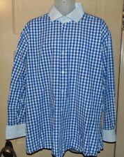 Robert Lewis Shirt Sz 18 1/2 Blue White Gingham Check Red Label