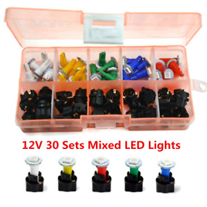 12V Car Dash Light T5 Instrument Panel Cluster Plug Mixed LED Lights 30 Sets