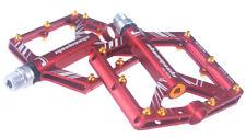 Road MTB XC Bike 4 sealed Bearing Pedals Flat Pedal Red + gold Aluminium studs