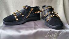 NIB Giuseppe Zanotti Studded Slip On 40 EU 10 Women 7 Men Sneakers Black Shoes