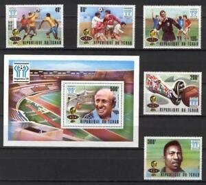 Soccer 1978 C08 MNH Chad 5v block CV 15 eur