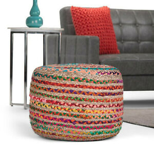 Cotton Jute Pouf Cover Pillow Round Home Decor 14x20x20 In Jute Pouf Cover Only