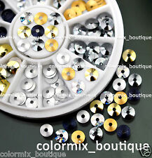 5mm 6 Color Glitter Round Spangles Slice Circles Nail Art Tips Decals+Wheel #R59