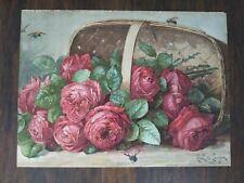 "Vintage Paul de Longpre 1899 Basket of Roses Litho 20 x 15"""