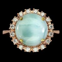 Unheated Round Blue Larimar 12mm Cz Rose Gold Plate 925 Sterling Silver Ring