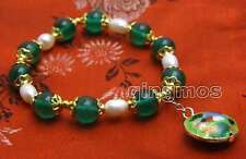10mm Round Green Jade and White Rice Pearl Bracelet and Cloisonne pendant-bra382