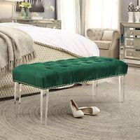 Velvet Upholstered Tufted Bench Ottoman Wood Modern Nailhead Trim Acrylic Legs