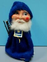 RARE VTG. MAUXION SANTA CLAUS CANDY CONTAINER WITH PAPER MACHE FACE & FUR BEARD