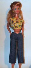 Barbie Denim Capri Pants Capris + Butterfly Print Cotton Top