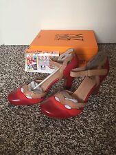 SOLD OUT Modcloth Miz Mooz NYC Leather Red Orange Beige Wavy Heels Sz 10