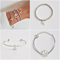 Fashion Womens Boho Simple Rope Chain Airplane Hollow Map Open Cuff Bangle Gift