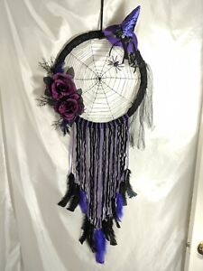 Decorative Dreamcatcher- Wicca/Witch Wall Decor Handmade - Black/ Purple