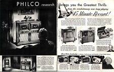 1948 Philco Radio Phonograph Record Player Bing Crosby Vintage Print Ad 1112