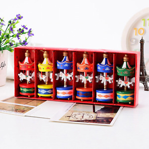 6PCS Wood Carousel Horse Christmas Festive Decoration Xmas Ornaments Toy