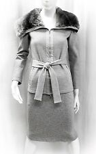 NWT MAX MARA 2 PIECE SET GRAY JACKET SKIRT WOOL BELT RABBIT FUR COLLAR 38 EU 04