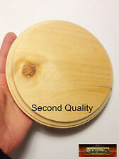 "M01161 MOREZMORE 1 Unfinished SECONDS 6"" Round Wood Base Wooden Plaque Stand A60"