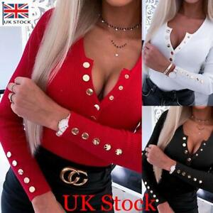 Womens Long Sleeve V Neck Button Sweater T Shirt Ladies Casual Slim Blouse Tops