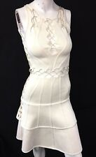 Herve Leger Bandage Zig Zag Leather Lace Up A-line Dress Cream Ivory Beige XS