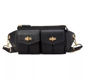 ❤️ kate spade  Cargo Nylon Sling  Black/Gold Belt Bag