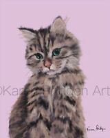 ACEO ATC Art Card Painting Print Signed Cat Cats Kitten Pet Animal