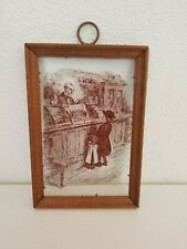 Vintage Screen Print on Glass Old Fashion Store Cross Hatching Framed Decor