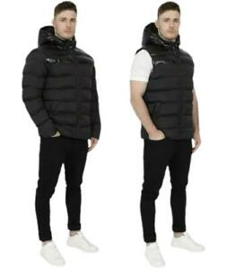 New Mens Jacket Gilet Hooded Winter Warm Padded Coat Fashion Hoodie Casual Black