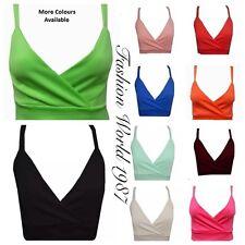 New Womens Ladies Plain Strappy Bra Crop Top Vest Tank Bralet Top 8-14