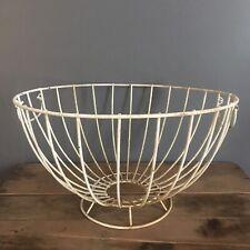Vintage Round White Handled Wire Basket W/ Pedestal Rustic Farmhouse Planter