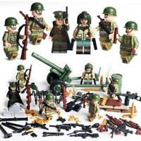 US Soldiers WW2 Army Set Minifigures 6-PAck With Cannon & Weapons For Lego Brick