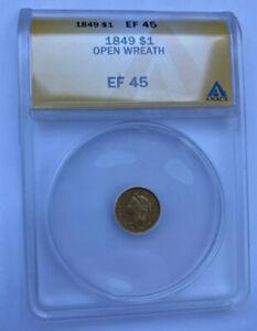 1849 $1 Gold Liberty Open Wreath **Worth Regrading