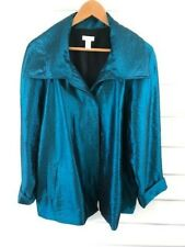 Chicos Womens Emerald Green Shimmering Button Down Blazer Jacket Coat Size 3