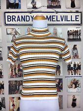 Brandy Melville Orange Striped Cotton Ribbed Turtleneck knit Camia Crop Top Nwt