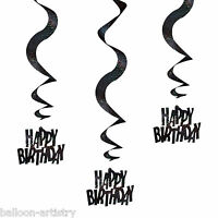 6 Black Silver Glitz Happy Birthday Party Hanging Holographic Swirls Decorations