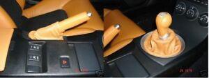 FITS NISSAN 350Z FAIRLADY SHIFT + EBRAKE BOOT ORANGE TAN 03-09