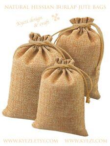 "7""x9"" 25 50 100 Hessian Burlap Jute Linen Gift Bags, Drawstring Jewelry Pouch"