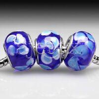 5pcs Silver Murano Lampwork Glass Beads Fit European Bracelet DIY LB0150