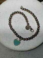 Tiffany & Co Mini Heart Tag Bead Ball Bracelet Silver Blue Enamel 6.75