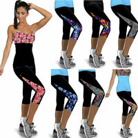 Women Sports Yoga Fitness Capri Leggings Gym 3/4 Pants Slim Fit Cropped Trousers