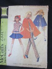 1970 Mc Calls 2331 Girls size 14 Cape skirt pants top pattern cut/complete