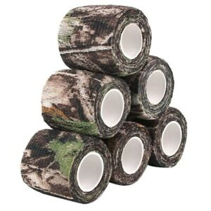 6 Roll Camouflage Tape Cling Scope Wrap Camo Stretch Bandage Self-Adhesive Tape