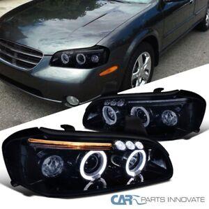 For 00-01 Nissan Maxima Smoke Glossy Black LED Dual Halo Projector Headlights