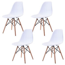 Set of 4 Mid Century Modern Eiffel Style DSW Dining Side Chair Wood Leg in White