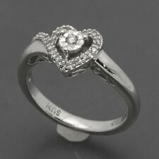 Sterling Silver Illusion-Set Diamond Heart Promise Ring 1/10 CTW Size 6.75