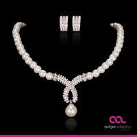 Brautschmuck Schmuckset Perlen Collier Kette Ohrringe Kreaolen Kristall Hochzeit