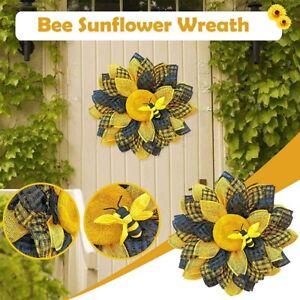 Bee Sunflower Wreath Simulation Leaf Garland Hanging Pendants Home Wall Decor US
