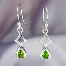 Peridot Pear Drop Earrings in SOLID 925 Sterling Silver - REDUCED!