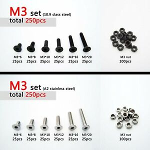250pcs Assortment Kit M2 M3 Flat Countersunk Head Hex Socket Cap Screw Bolt Nut