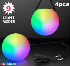 4 X Colorful LED Glow POI Thrown Balls Light up for Belly Dance Level Hand Props