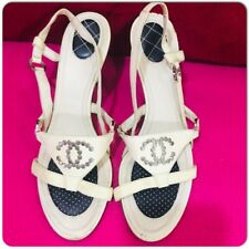 CHANEL Nude Quilted Heel Sandals Shoes with Stud CC Logo size 7